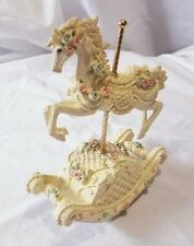 Vintage Resin Rocking Carousel Horse Music Box