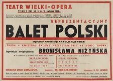 Nijinska In Polish Ballet, Warsaw, Poland, 1938, Vintage Ballet Poster