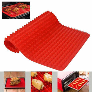 Silicone Non Stick Cooking Mat Pyramid Pan Oven Baking Tray Fat Reducing 29x41cm