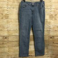 Levis Mid Rise Skinny Jeans Womens Size 16 Light Wash Denim Stretch Distressed