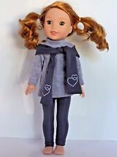 """Grey 3pc Legging Set Fits Wellie Wishers 14.5"""" American Girl Clothes"""