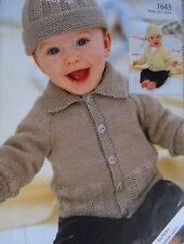 BABIES~BOYS CARDIGAN/JACKET/HAT~4 PLY KNITTING PATTERN PREMATURE TO 2 YRS OLD(S6