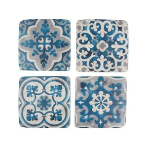 Sass & Belle Set of 4 Mediterranean Santorini Mosaic Ceramic Blue White Coasters