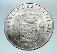 1963 Netherlands Kingdom Queen JULIANA I Gulden Authentic Silver Coin i80806