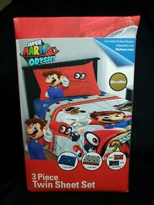 Super Mario Odysee 3 Piece Microfiber Twin Bedding Sheet Set & Pillowcase Kids
