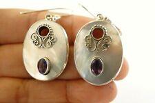Mother of Pearl Purple Amethyst 925 Sterling Silver Dangle Earrings