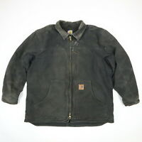 Carhartt C61 Ridge Sherpa Lined Coat Faded Black Distressed Workwear Mens XL