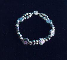 Multi Color Beaded Bracelet Vtg Cloisonne Goldtone Black &