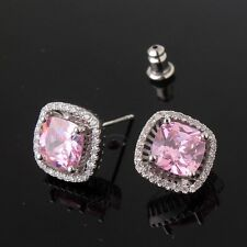 Woman accessories!pink sapphire 18k white gold filled Cool design stud earring