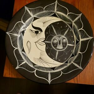 "Large BLACK AND WHITE Moon and Sun 16"" CERAMIC wall hanging decorative decor"