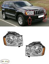 FOR JEEP GRAND CHEROKEE WH 2005 - 2007 FRONT MANUAL HEADLAMPS PAIR L + R LHD