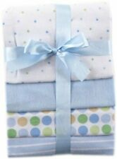 RECEIVING BLANKETS SET 4 COTTON PACK BABY - BOYS - SMALL DOTS BLUE NEW