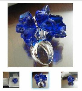 Lalique Fleur de Papillon 56 size 8 Blue Butterfly Crystal Silver Ring