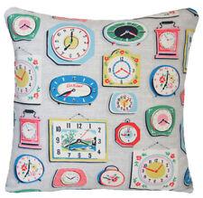 "Cath Kidston Fabric Cushion Cover Old Clock Square 14"""