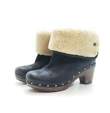 UGG Lynnea Wood Clog Ankle Boots Size 7 Black Shearling Studded S/N 3207