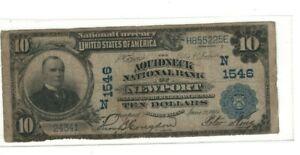 1902 $10 Aquidneck National Bank of Newport, RI Charter 1546 PB Rhode Island