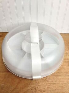 Pampered Chef White Chillzanne Platter #2780 w. Dome Cover, Dividers & Handle