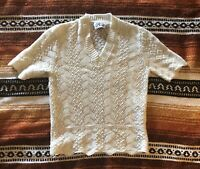 Vintage 1970s Butte Sweater Top Open Knit Short Sleeve Fitted Waist Small