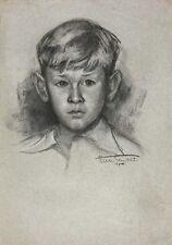 portrait de jeune garçon signé en bas à droite, daté 12 juillet 40