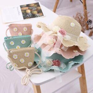 Summer New Girl Children Sweet Flower Hats Handbag Kid Baby Girl Sun hat Gift