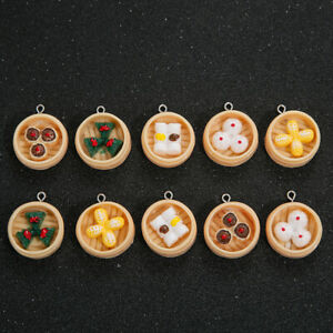 10pcs Simulation Mini Food Dim Charms Pendant Resin DIY Earrings Jewelry Gifts