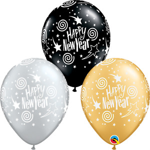"New Year Eve Party Balloons ""Happy New Year"" Stars & Swirls Latex 3 for $2"