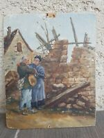 Peinture Ancienne sur carton époque début XX ème s