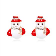 Christmas Snowman Rhinestone Gold Plated Woman Earring Holiday Celebration