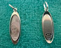 925 Sterling Silver Virgin Mary Pendan Catholic Medal Charm Our Lady Medjugorje