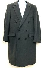 Carters Mens Trench Coat Wool Double Breasted Gray Wool Jacket Winter Size L