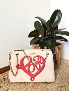 LOVE MOSCHINO vegan faux leather mid sized chain tote handbag | ex cond