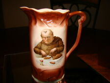Vintage Germany Ceramic Pitcher with Monk Eating Don't Pay More!