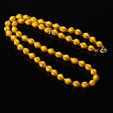 """17"""" vintage Czech necklace hand blown hollow yellow red striped glass beads"""
