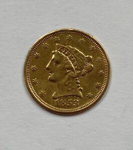 1853 US $2.50 LIBERTY QUARTER EAGLE GOLD COIN LOVE TOKEN COIN NO RESERVE!