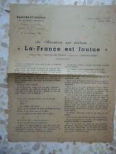 AUTHENTIQUE TRACT POLITIQUE 2ème GM 39-45 : EQUIPES ET CADRES 1943
