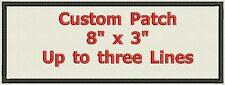 "Name tag, Custom Embroidered Ribbon, Biker Patch Rectangle  8"" x 3"""
