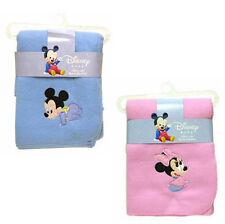 "Disney Baby Mickey Mouse - Minnie Fleece Throw Blanket 31"" x 35"" Blue Pink New"