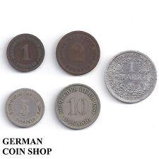 GERMANY Impero-Set piccolo Adler 1, 2, 5, 10 Pfennig, 1 Mark 1873 - 1889