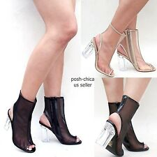 New Women Spre Black Beige Peep Toe Mesh Ankle Booties Clear Chunky High Heels