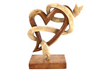 Hand Carved Wooden Abstract Heart Ribbon Sculpture Display Piece Rustic Decor