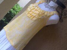 Women's RAFAELLA Vibrant Yellow White Ruffle Front Blouse Tank Top M 10 12