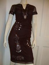 KAREN MILLEN  -UK 10 - BROWN BEADED NYLON/ELASTANE FINE MESH  STRETCHY DRESS