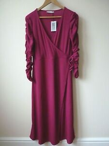 Ex Oasis Magenta Runched Sleeves Rib Front Wrap Stretchy Midi Dress Size 14-16