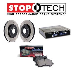 For Honda Pilot Acura Front StopTech Slotted Brake Rotors Set PQ Ceramic Pads