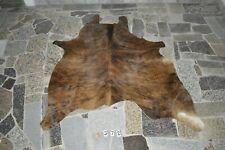 """DARK BRINDLE!  Rug HAIR ON SKIN  Leather cowhide 1372-   71"""" x 70"""""""