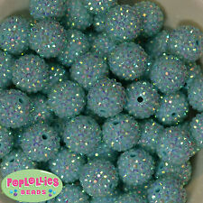 20mm Mint Rhinestone Resin Bubblegum Beads 20pc Chunky Gumball