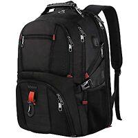 "Matein Men's Black 45L Travel Laptop Backpack 17.3"" TSA-Friendly Bag USB Port"