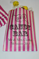 PERSONALISED Candy Bar - Wedding Sweet Bags - Buffet Sweet Cart - Pink Striped