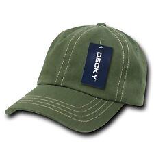 Olive Green & Khaki Washed Cotton Polo Blank Plain Baseball Cap Caps Hat Hats