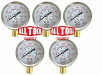 """Qty 5 Air Pressure Gauge 2"""" Side Mount 1/4"""" NPT 2"""" Dial - 0 to 200 PSI"""